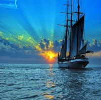 Ship Sailing into Sunset